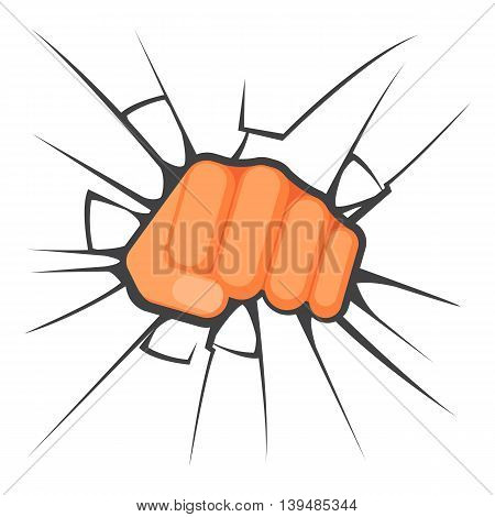 Kicking fist is breaking the glass is symbol of aggression, vector colorful flat illustration