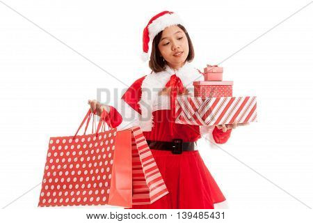 Asian Christmas Santa Claus Girl With Shopping Bags And Gift