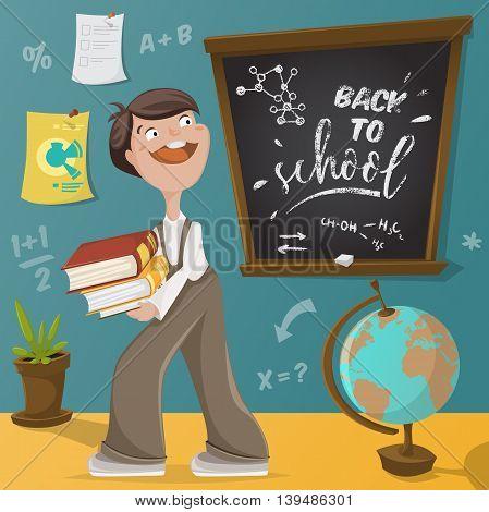 Back to school. Schoolboy, chalkboard and school supplies. Funny cartoon character. Vector illustration
