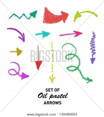 Set of hand drawn oil pastel arrows for business presentation. Vector illustration.