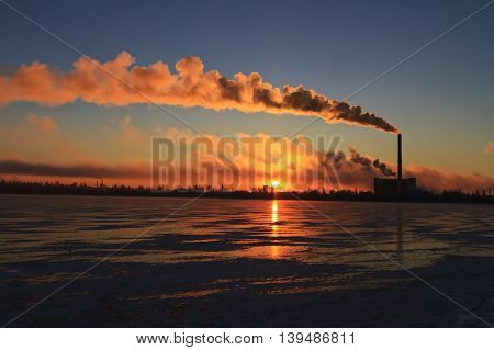 factory polluting smoke, environmental disaster, recycling plant