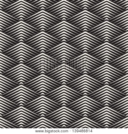 Vector Seamless Black and White Rhombus Grid Corner Sharp Lines Geometric Pattern Abstract Background