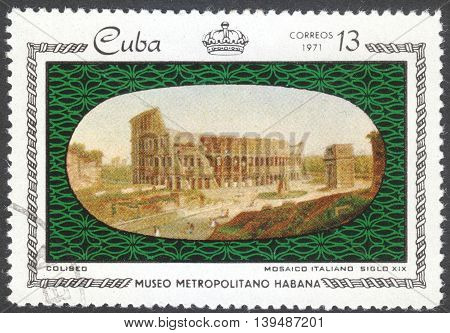 MOSCOW RUSSIA - CIRCA FEBRUARY 2016: a post stamp printed in CUBA shows Coliseum Italian tile the series