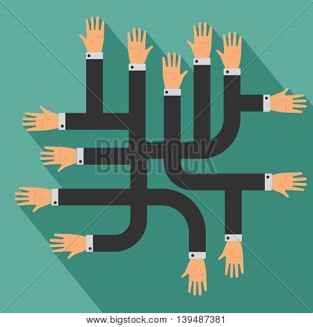 Many Hands, Business Concept. Vector Illustration