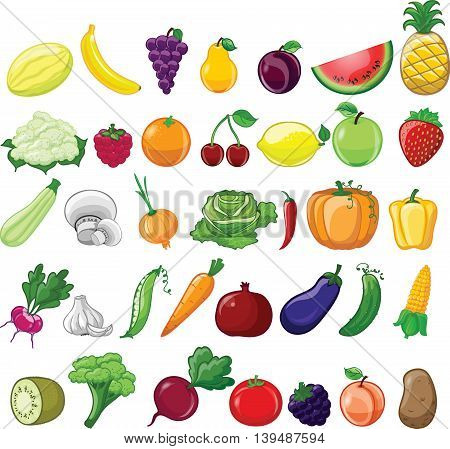 Set of vector illustrations cartoon vegetables and fruits