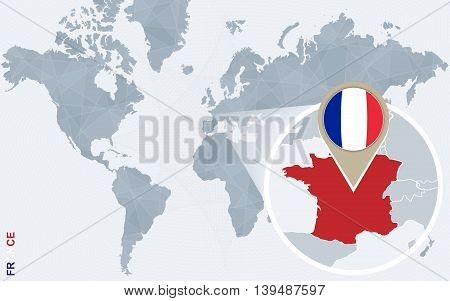 Abstract Blue World Map With Magnified France.