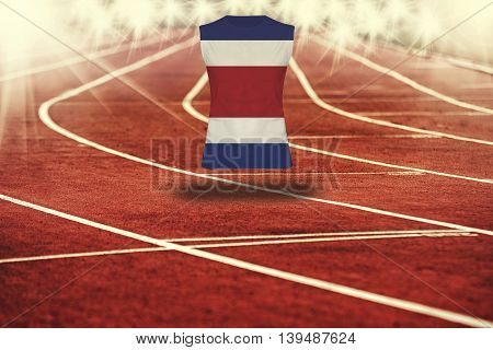 Red Running Track With Lines And Costa Rica Flag On Shirt