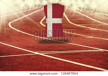 Red Running Track With Lines And Denmark  Flag On Shirt