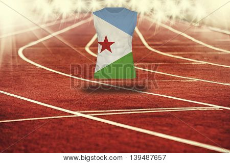 Red Running Track With Lines And Djibouti Flag On Shirt