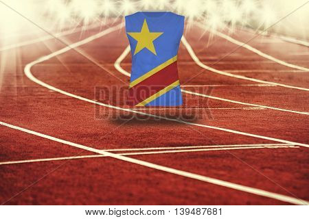 Red Running Track With Lines And Dr Congo Flag On Shirt