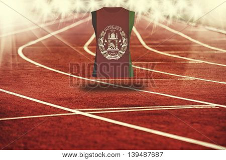Red Running Track With Lines And Afghanistan Flag On Shirt