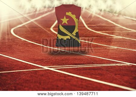 Red Running Track With Lines And Angola Flag On Shirt