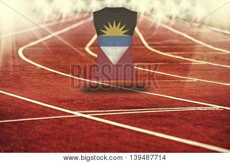 Red Running Track With Lines And Antiqua And Barbuda Flag On Shirt