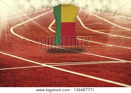 Red Running Track With Lines And Benin Flag On Shirt