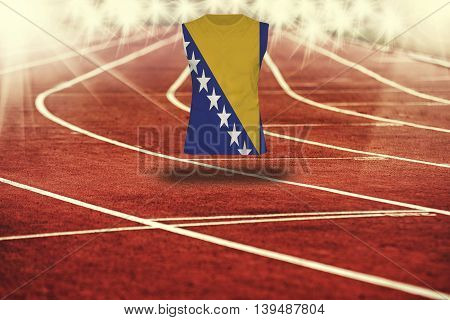 Red Running Track With Lines And Bosnia & Herzegovina Flag On Shirt