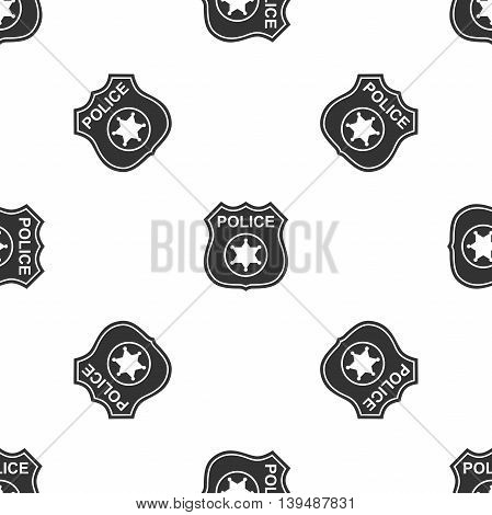 Police badges icon seamless pattern on white background. Vector Illustration