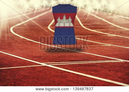 Red Running Track With Lines And Cambodia Flag On Shirt