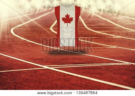 Red Running Track With Lines And Canada Flag On Shirt