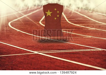 Red Running Track With Lines And China Flag On Shirt