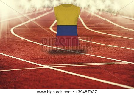 Red Running Track With Lines And Colombia Flag On Shirt