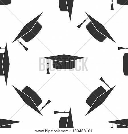 Graduation cap icon seamless pattern on white background. Vector Illustration