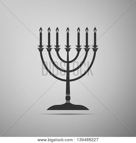 Hanukkah menorah icon on grey background. Adobe illustrator