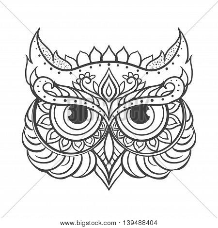 Ornament owl vector. Beautiful illustration owl for design, print clothing, stickers, tattoos, Adult Coloring book. Hand drawn animal illustration. Bohemian owl lace