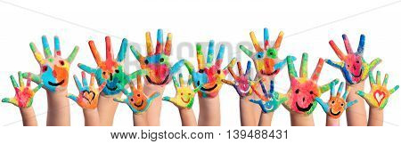 Hands Painted With Smileys On White Background
