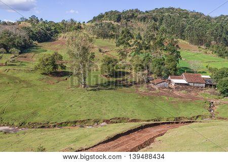 Farm And Mountain