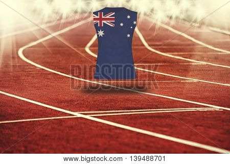 Red Running Track With Lines And Australia Flag On Shirt