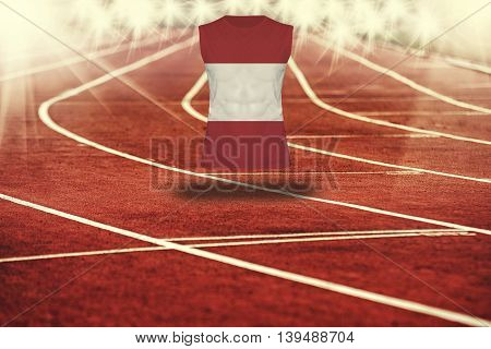 Red Running Track With Lines And Austria Flag On Shirt