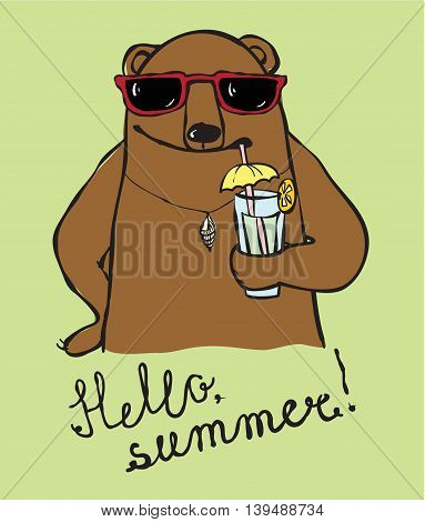 Cool hand drawn Bear drink summer cocktail