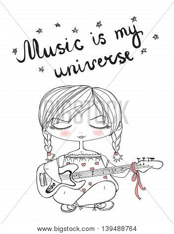 Vector illustration of cute vintage girl playing guitar. Hand drawing lettering. Music is my universe