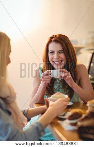 Cheerful beautiful woman talking female friend at coffee shop