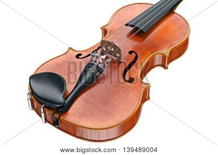 Viola wooden musical equipment, close view. 3D graphic