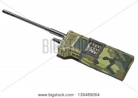 Military portable radio khaki digital device. 3D graphic
