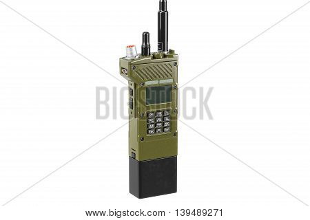 Military radio modern portable equipment, close view. 3D graphic