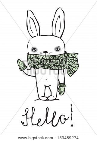 Cute rabbit with scarf. Hello greeting card vector template.