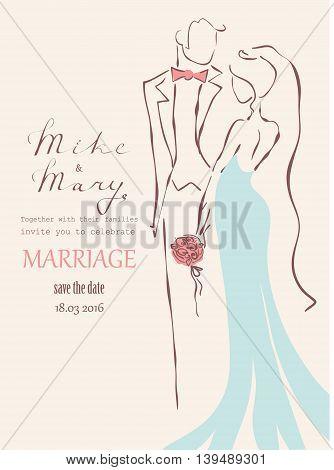 Wedding vector hand drawn vintage invitation card.