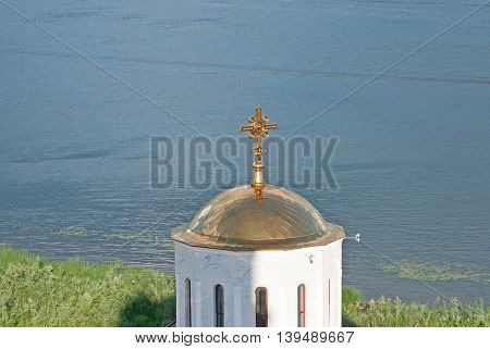 Beautiful View Svyato-Bogorodicky monastery and Volga river Russia