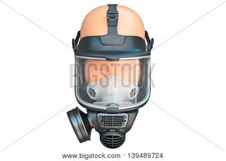 Safety pro mask glass on mannequin uniform for protection. 3D graphic