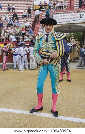 Jaen SPAIN - October 17 2008: The spanish bullfighter Daniel Luque at the paseillo or initial parade during a bullfight in the Bullring of Jaen Spain