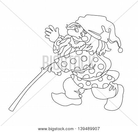 Image of gnome with branch. Can be used for coloring book. Vector illustration.