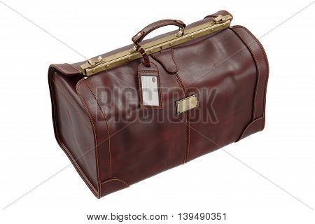 Travel brown leather gripsack on lock, bag. 3D graphic