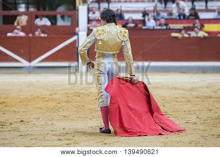 Jaen SPAIN - October 17 2008: The Spanish Bullfighter Curro Diaz bullfighting with the crutch in the Bullring of Jaen Spain