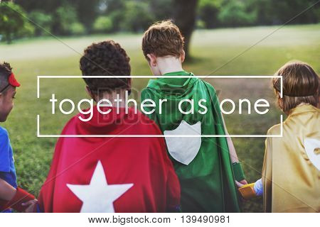 Together as One Togetherness Teamwork Support Concept