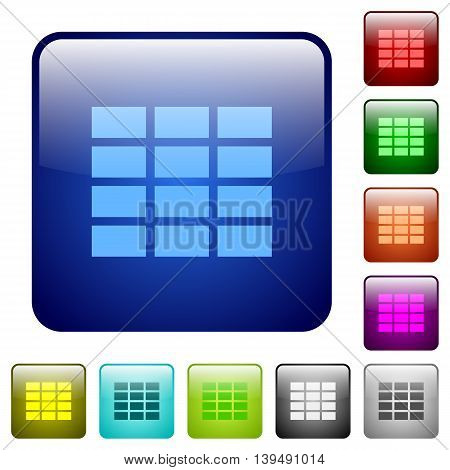 Set of spreadsheet color glass rounded square buttons