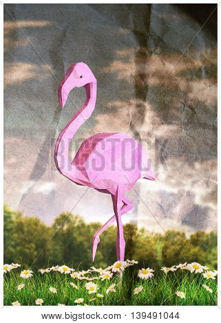3d illustration of a flamingo bird low poly
