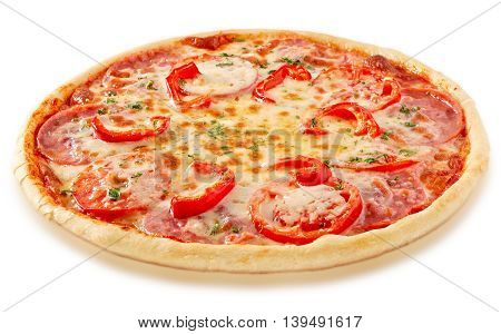 Salami pizza with tomatoes and red pepper and ingredients