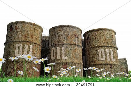 3d illustration of oil barrels isolated on white background